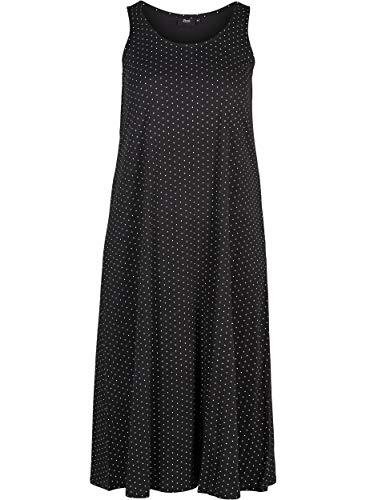 Zizzi Damen Jersykleid Ärmellos Loose Casual 7/8 Langes Kleid Große Größen 42-56
