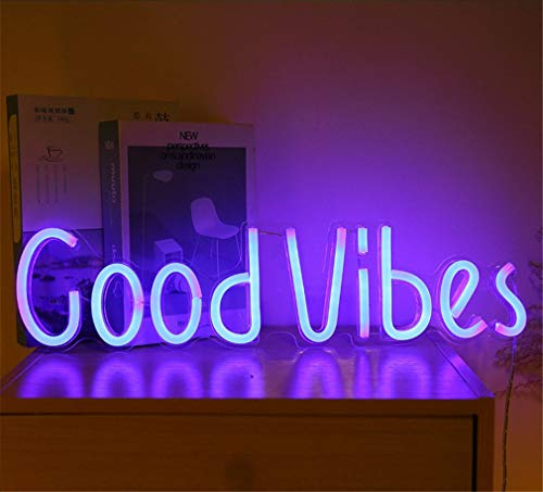 Letrero de luz de neón LED Buenas Vibraciones Luces nocturnas Señal de marquesina Decorativa operada por USB Bar Pub Store Club Garaje Decoración para Fiestas en casa