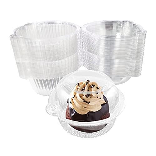 Ledeak Caja de Plástico para Cupcakes, 100 Piezas Caja Individuales de Transparente para Magdalenas y Tartas Cúpula Contenedores para Pastel Muffins Frutas Fiestas Familia