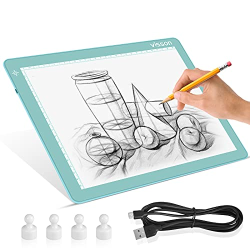 Portable A4 Tracing LED Copy Board Light pad,Light Board with Protect Frame,Ultra-Thin 3 Color Temperatures Stepless Dimming Light Box for Weedind Vinyl,Sketching,Animation,Diamond Painting,Blue