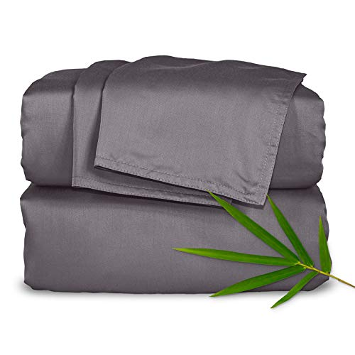 Pure Bamboo Sheets - Queen Size Bed Sheets 4pc Set - 100% Organic Bamboo - Incredibly Soft - Fits Up to 16' Mattress - 1 Fitted Sheet, 1 Flat Sheet, 2 Pillowcases (Queen, Stone Grey)