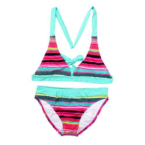 Changhants Bikini Set Ragazza Multicolor Stripe 6-16 Anni Costumi da Bagno Due Pezzi per Bambina Costume da Bagno per Bambini Nuoto Estate Spiaggia assolata Indossa