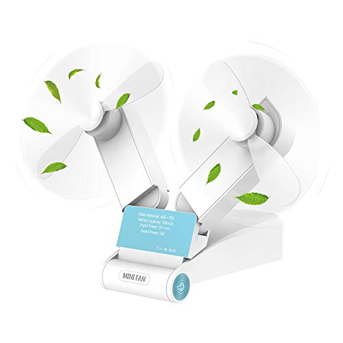 Simpeak Handheld Fan Portable silent White [Two Head Modes], 2 Speed Usb Desk fans cooling Rechargeable Pocket Foldable Fans for Home Travel Outdoor Shopping