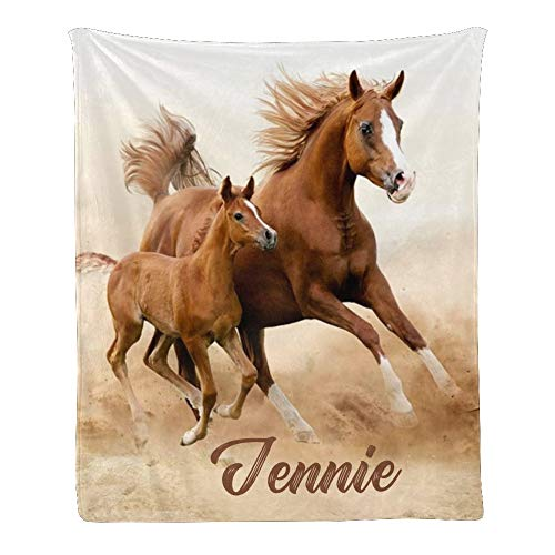 Custom Blanket with Name Text,Personalized Running Horse Super Soft Fleece Throw Blanket for Couch Sofa Bed (50 X 60 inches)