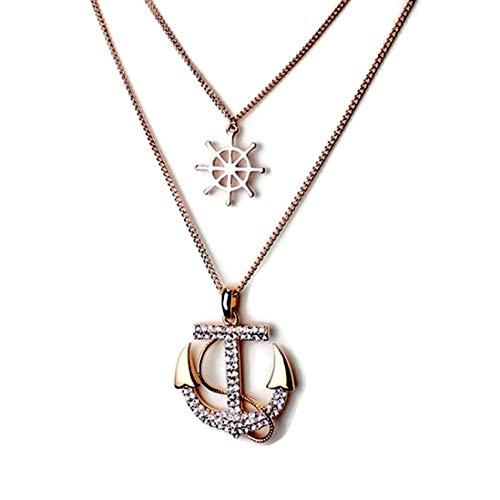 H & H UK Nautical kristallen anker & wiel dubbele ketting Rose vergulde hangers in fluwelen geschenkzak