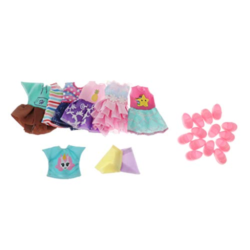 kowaku 5/7/8/15 Set Mini Girl Doll Clothes Princess Dress with Shoes Dress Up Costume Suit for 1/12 Scale Ball Jointed Dolls, OB11, Kids Toys - Style 1-7 Set