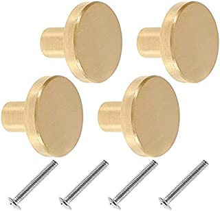 8Pcs Solid Brass Cabinet Knobs 20 x 25mm Brushed Finish Door Knobs Round Solid Brass Cabinet Knobs with Screws for Cabinet...