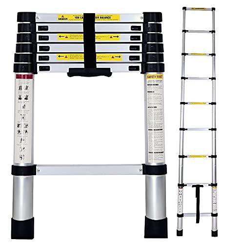 TTT Escalera Telescópica de Aluminio Multiusos Portátil Plegable Extensible - 2.6m, TLV-AM-TL26