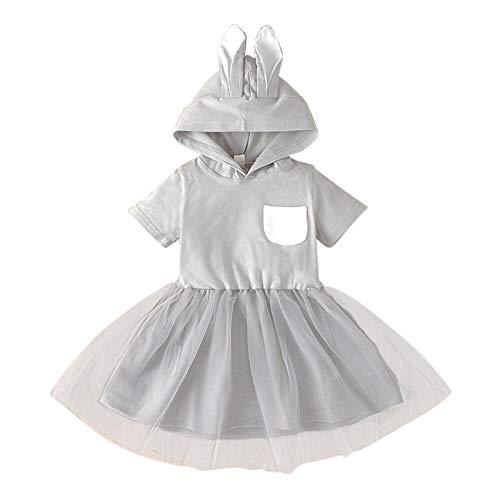 Huihong Baby Mädchen Kleid Einfarbig Kurzarm Hasen Ohren Netzrock mit Kapuze Prinzessinenkleid Party Kleid Festlich Kleider (120, Grau)