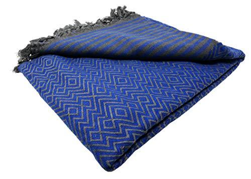 Bella Casa KELIM LUX Tagesdecke Bettüberwurf Überwurf Plaid Baumwolle 200x220 cm (Royalblau)