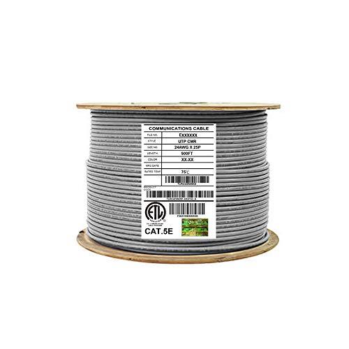 Elite 25 Paar Cat5e Riser (CMR), 152,4 m, UTP 24 AWG, solides blankes Kupfer, 350 MHz, UTP (ungeschirmte Twisted Pairs), UL-zertifiziert, Bulk Ethernet Kabeltrommel, grau