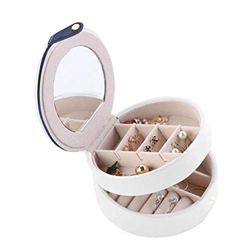 Organizador de Caja de joyería Caja de joyería de Tres Capas portátil Creativa Pendientes de Anillo Pulsera Pulsera Place Multiusos Desmontable Caja de Acabado Redondo (Color : White)