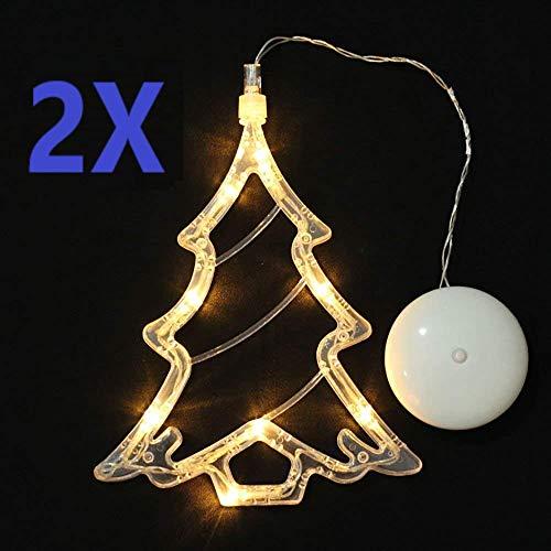 SuperglockT Fensterlicht Weihnachtsbeleuchtung mit Saugnapf Batteriebetrieben hängend Weihnachten Deko Lichter für Innen Weihnachtsbaum Motiv Fensterdeko (2 Stück)