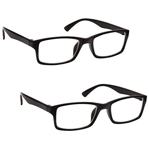The Reading Glasses Company Die Lesebrille Unternehmen Leser Wert 2er-Pack Designer Stil Herren Frauen RR92-1 +1, 00 , Schwarz, 2 Stück