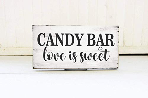 15 x 33 cm Candy Bar Love is Sweet Wedding Sign Sweets...