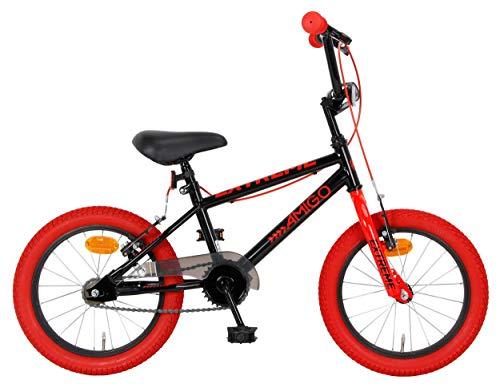 Amigo Extreme - Bicicleta infantil para niño, 16 pulgadas, con frenos de mano y acolchado para manillar, a partir de 4-6 años, color negro y rojo