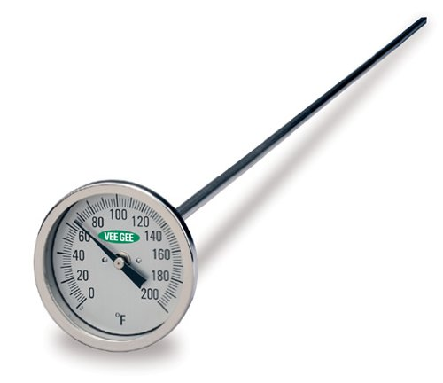 """VeeGee Dial Compost Thermometer, with Glass Face, 48"""" Stem, 3"""" Dial, 0 to 200 Degrees F"""
