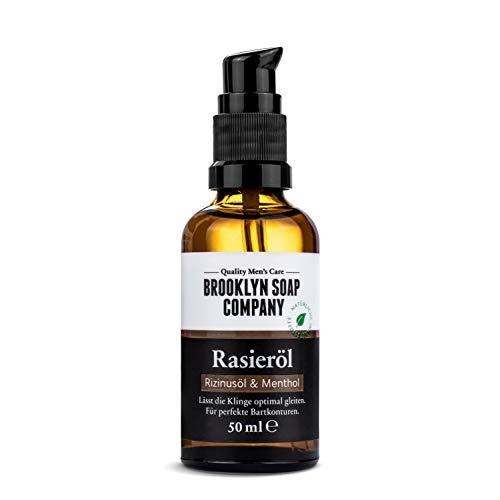 Natürliches Öl für die Rasur: Shaving Oil Rasieröl (50 ml) Naturkosmetik der BROOKLYN SOAP COMPANY Geschenkidee als Geschenk für Männer - Rasieröl für Konturen und vollständige Rasur