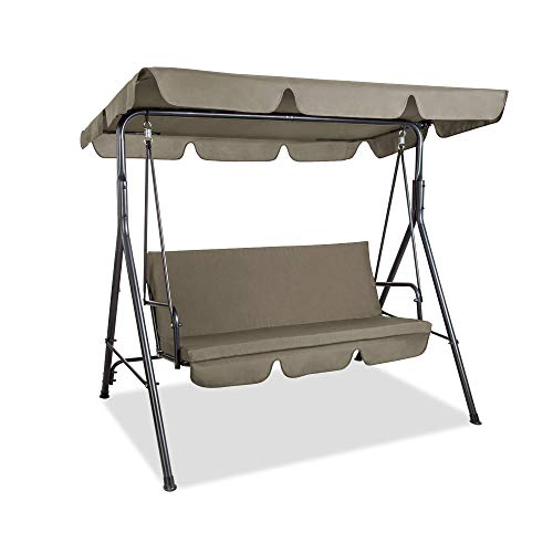 PAMAPIC Patio Swing Chair, 2/3-Person Outdoor Canopy Swing, Porch Swing with Removable Cushion and Convertible Canopy, Outdoor Swing Glider for Patio, Garden, Poolside, Balcony (Topaz)