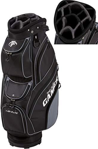2019 Top-Flite Gamer Golf Cart Bag 14-Way Top 9 Pockets Mesh Carry Strap Beverage Cooling (Black)