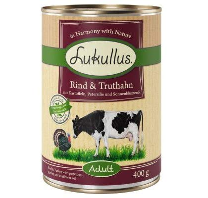 Lukullus Beef & Turkey Grain-Free 6 x 400g Grain-free Wholesome Complete Wet Dog Food All Nutrients & Vitamins Healthy Ingredients Herbs & Oils Totally Additive-free Carbohydrates & Fibre