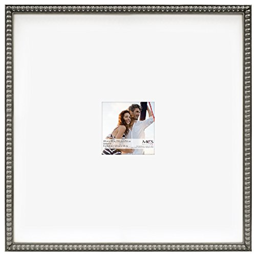 MCS 20x20 Inch Signature Beaded Frame with 5x5 Inch Mat Opening, Pewter (47602)