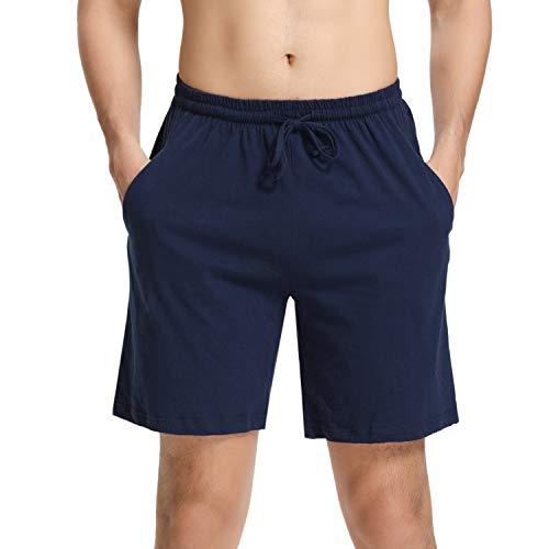 Hawiton Herren Schlafanzughose Pyjamahose Baumwolle Kurz Shorty Nachtwäsche Sleep Hose Pants Blau M