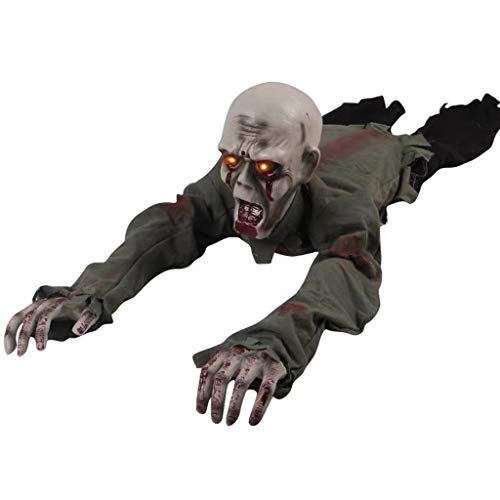 catyrre Halloween Scary Crawling Ghost, Electronic Sound Sensor Creepy Bloody Zombie mit Led Eyes für Haunted House Decoration Props