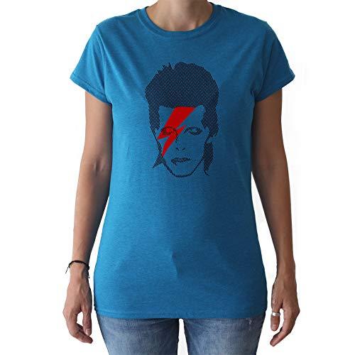 GAMBA TARONJA Bowie – T-Shirt – Mädchen – David Bowie – Aladdin Sane, 24-Mujer-M, Mehrfarbig, 24-Mujer-M Medium