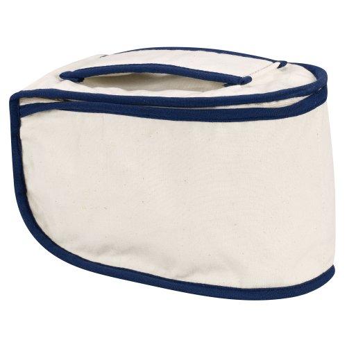 Household Essentials 900 Polyester Cotton Canvas Iron Caddy Storage Bag, Natural, Blue Trim Nevada