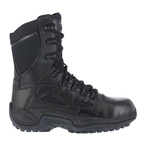 """Reebok Women's 8"""" Side-Zip Rapid Response Tactical Boot Round Toe Black 9.5 EE US"""