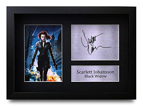 HWC Trading Scarlett Johansson A4 Gerahmte Signiert Gedruckt Autogramme Bild Druck-Fotoanzeige Geschenk Für Black Widow The Avengers Filmfans