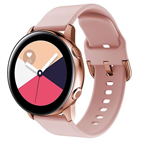 Correa para Reloj, Hanyixue Active Correa de reemplazo Suave de Silicona para Deportes Pulseras de Repuesto para smartwatches para Samsung Galaxy Watch (Rosado)