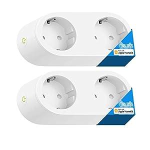 meross Doppia Presa Intelligente Smart Plug Multipresa Spina WiFi Ciabatta Compatibile con Homekit, Alexa, Google Home e IFTTT, 2.4GHz con Pulsante Fisico, 2 Pezzi