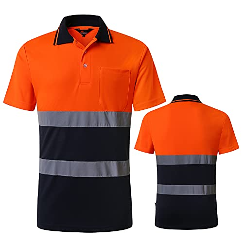 Safety Work Shirt Reflective Shirt for Technician Engineer Quick Drying Short Sleeve T-Shirt Protective Clothes for Construction Workwear (Orange and Navy, X-Large)