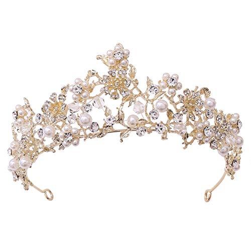 Ownlife Tocadores de Moda de Moda Flor Tiara Rhinestone Crystal Pearl Crown Wedding Tiara Princess Party Diadema Accesorios (Color : Gold)