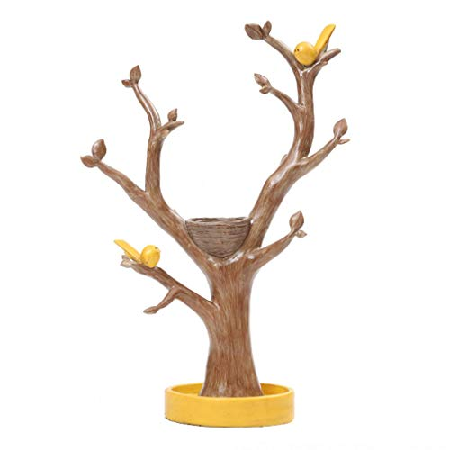KGDC Escultura Ornamentos Creativo Estantería de Almacenamiento Ramas Joyas Anillo Collar Soporte de exhibición Decoración for el hogar Adornos Decoración del Escritorio (Color : Yellow)