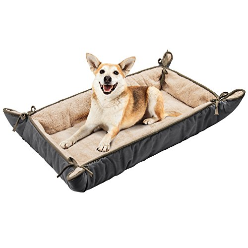 Dog Crate Liner with Ties,Washable Fluffy Pet Sleeping Mat,Soft Plush Pet Sofa Kennel Cushion Mat for Small Medium Large Dogs Puppy Cats