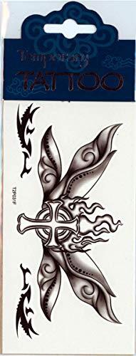 Horror-Shop Wing Butterfly Tattoo Cross