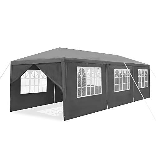 UISEBRT Pavillon 3x9m Wasserdicht - Partyzelt Gartenpavillon mit 8 Seitenwänden Camping Festpavillon für Garten, Party, Hochzeit, Dunkelgrau