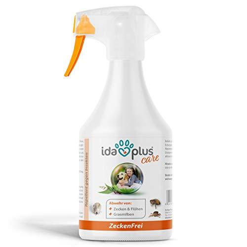 Ida Plus – Zeckenfrei 500 ml – Zeckenspray gegen Zecken, Mücken, Flöhen, Grasmilben & Parasiten – Zeckenmittel für Hunde – Anti Zecken Insektenspray mit Geraniol & Nelkenblätteröl zum Insektenschutz
