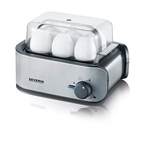SEVERIN Eierkocher, Inkl. Wasser-Messbecher mit Eierstecher, 6 Eier, 3 Härtestufen, EK 3134, Edelstahl/Schwarz