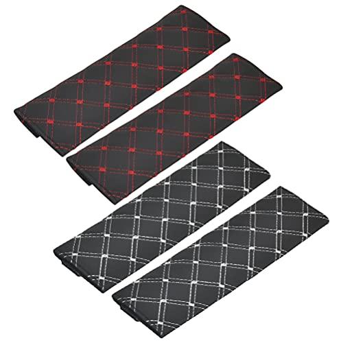 N\A POKIENE 2 Pares Almohadillas Protectoras para Cinturón De Seguridad De 25 Cm x 6 Cm, Almohadilla para El Cinturón De Seguridad del Automóvil, para Adultos y Niños, Negro, Rojo y Negro, Blanco
