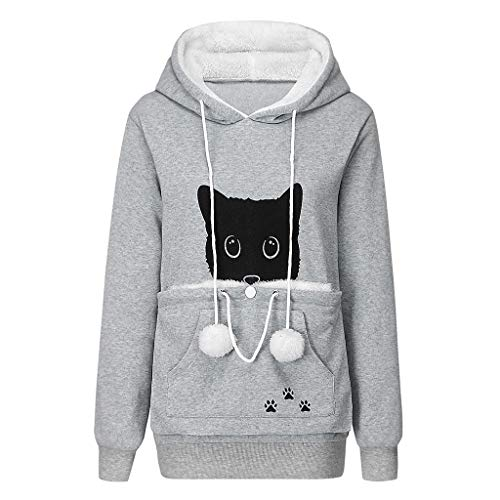 KEERADS Capuche Femme Pas Cher a La Mode S Respirant Poche Kangourou pour Porter Un Chat Hoodies Animal Pouch Tops Chien Chemisier Pull Manche Transport Animaux Grande Chiens Chats Pullover