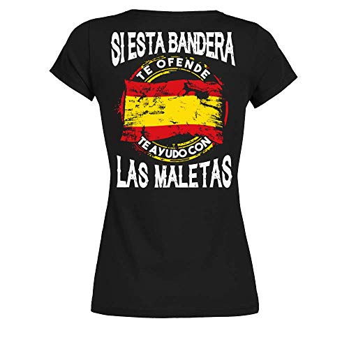 TEEZILY Camiseta Mujer Si Esta Bandera te ofende te ayudo con Las Maletas - Negro - L