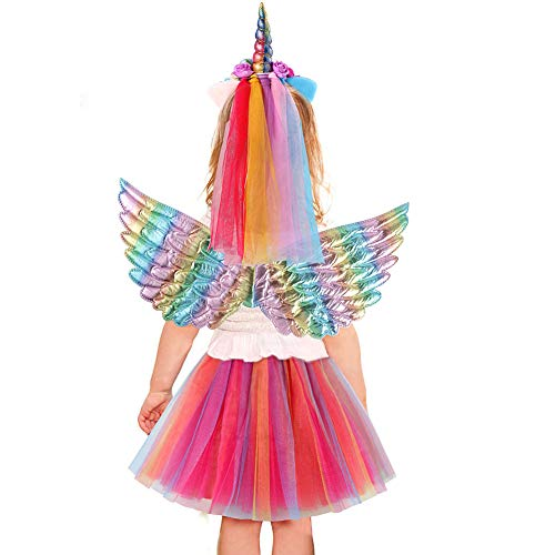 vamei Kostüm Einhorn Mädchen Kostüm Prinzessin Kleid Einhorn Haarreif Fee Flügel Mädchen für Geburtstag Weihnachten Geschenk Party Halloween Kostüm