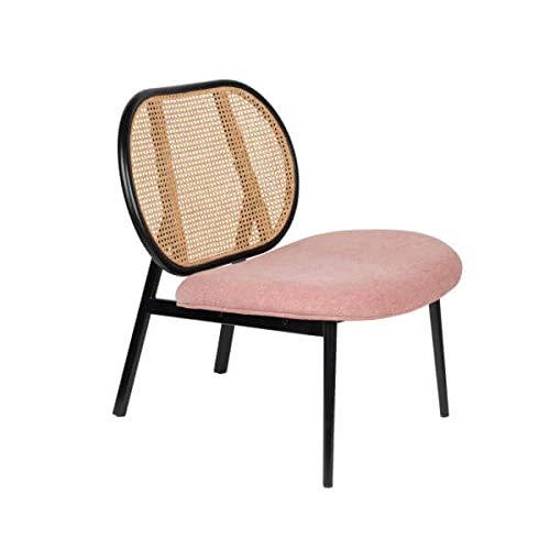 Zuiver Spike – Sessel mit Rückenlehne aus Geflecht und Sitzfläche aus Stoff, Rosa
