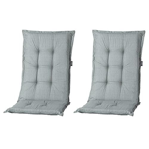 Nordje Madison Hochlehner-Auflagen Comfort Gartenmöbel-Auflage 2er Set 123x50x8cm   In unterschiedlichen Farben (Basic Grey)