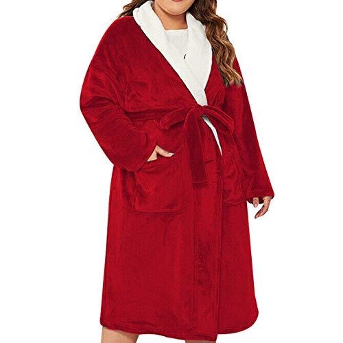 IILOOK Damen Revers Dick Warmer Taschengürtel Mittellanger Pyjama Bademantel (Rot,...