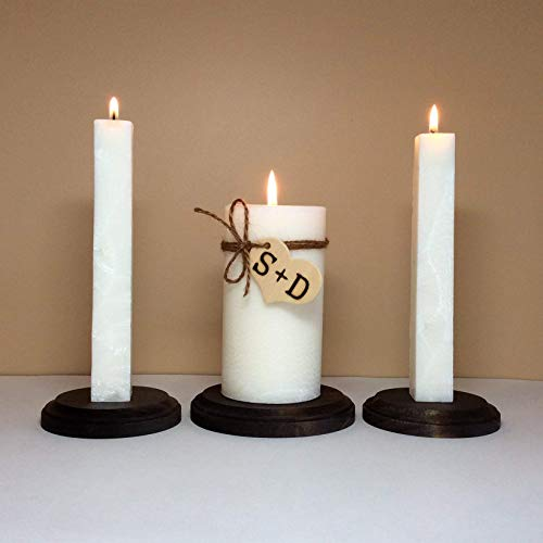 Personalized Rustic Unity Candle Set and Stand for Wedding Ceremony with Monogram